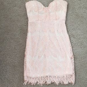 Strapless Pink Lace Dress
